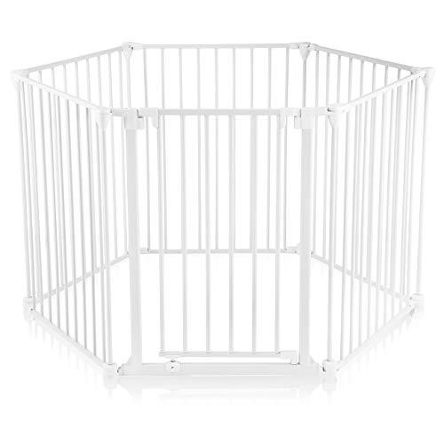 Baby Vivo Kaminschutzgitter Kinderlaufgitter Laufstall mit Tür und Absperrgitter Ofengitter Treppenschutzgitter Türschutzgitter Raumteiler 5+1 mit Tür in Weiß (5 Elemente und eine Tür) - PREMIUM