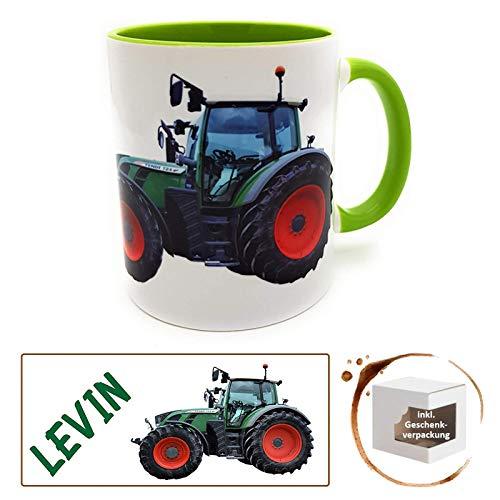 Kilala Traktortasse mit Wunschname, Namenstasse Trecker Henkelbecher für kleine & große Landwirte grün