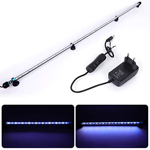 MLJ Aquarium Beleuchtung, LED Aquarium Leuchte 112 cm Wasserdicht Aquarium Lampe Stecker EU Unterwasser LED-Lichtbalken für Fisch Tank (Weiß & Blau)