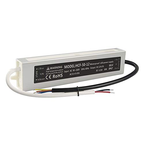 GALYGG DC 12V Power Supply IP67 Waterproof, Outdoor Transformer Driver 50W 4.16A, for LED Strip Lights, Computer Project