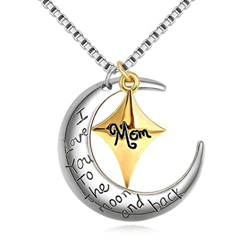 POWER WING Mom I Love You to The Moon and Back Pendant Necklaces,Moon&Star Shaped,Mother from...