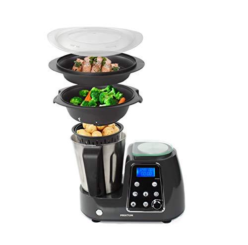 PRIXTON - Robot de Cocina Multifunción Programable: Mezclar, Batir, Picar, Cocinar al Vapor, Cocer, Freír/Incluye Báscula, Recetario y Accesorios, Acero Inoxidable | Kitchen Gourmet KG200