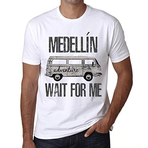 Hombre Camiseta Vintage T-Shirt Gráfico MEDELLÍN Wait For Me Blanco