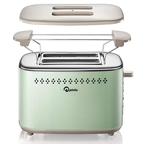 Toaster 2-Slice Stainless Steel Toasters with 2 Extra Wide Slots 6 Browning Dials and Removable Crumb Tray Warming Rack for Breakfast Bread Muffins Ovens Mint Green Retro Toasters