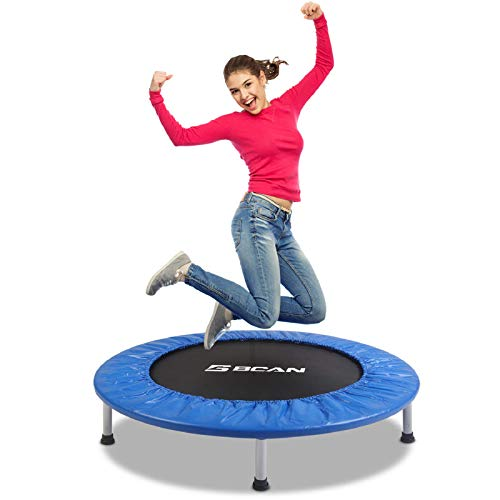 "BCAN 38"" Foldable Mini Trampoline, Fitness Trampoline with Safety Pad, Stable & Quiet Exercise Rebounder for Kids Adults Indoor/Garden Workout Max 300lbs - Blue"