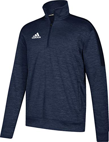 adidas Athletics Team Issue 1/4 Zip Long Sleeve, Collegiate Navy Melange/White, Large