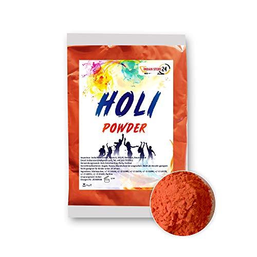INDIAN STORE 24 Holi Gulal Pulver wasserlöslich Natural Festival Fotoshooting Rangoli Colors Regenbogen Powder holy farbbeutel Glitzer Farbpulver Fotos (Safety Orange)