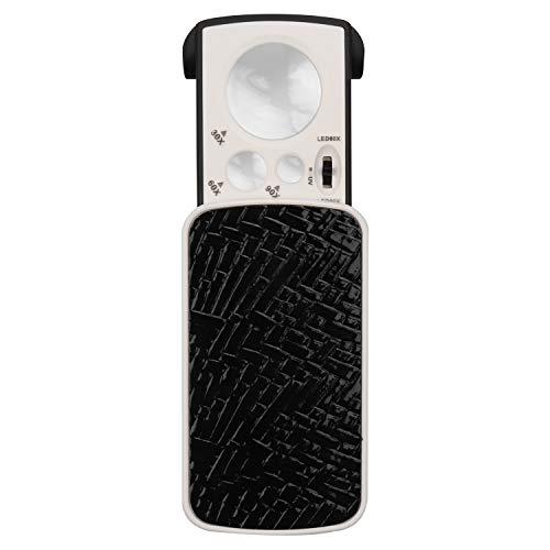 Kurtzy Kleine Taschenlupe mit LED Licht 30 x 60x 90x Multi-Power Juwelier Lupe Schiebelupe mit UV Schwarzlicht am Besten für Schmuck, Diamanten, Edelsteine, Münzen, Briefmarken und Lesehilfe