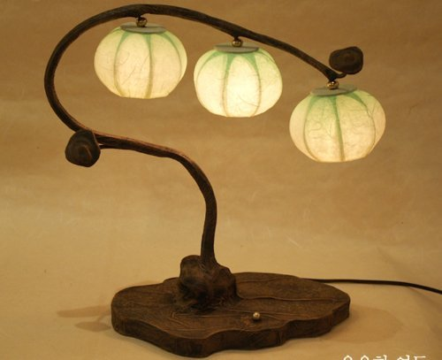 Abat-Jour Lampe à boule fabriquée à la main en papier de riz ou de crème de table avec motif Tree Fruits Art Tons vert pour usage domestique et décoratif, ronde, lanterne de style oriental pour chambre à coucher