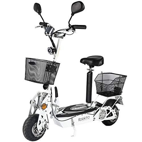 Rolektro Eco-Fun 20 V.2 Faltbarer Elektroroller - 20 km/h E-Roller mit Sitz 500W E-Scooter für Erwachsene EU-Zulassung Weiß