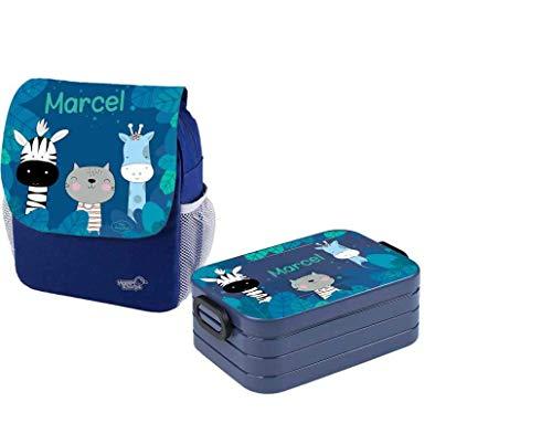 Mijn Zwergenland Set 1 kinderdagrugzak en broodtrommel Maxi Happy Knirps Next Print met naam blauw, Zebra Giraf (blauw) - ZL-S1NP-BLAU-PARENT