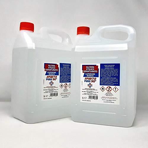 Alcool Etilico Denaturato Bianco Da 10 LT (2 taniche da 5Litri), SPIRITO PURO 90° (es. Iva DL Rilancio)