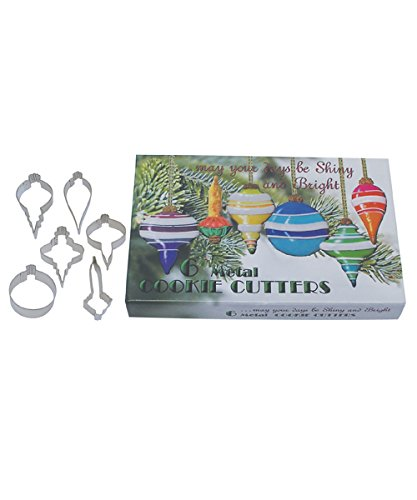 R&M International Vintage Inspired Christmas Ornaments Cookie Cutters in Gift Box, Assorted Styles, 6-Piece Set