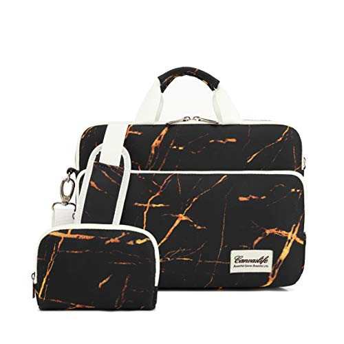 Canvaslife 360 Degree Protective Water Resistant Laptop Shoulder Messenger Sleeve Case Bag (11 inch-13.5 inch, Black Rock)