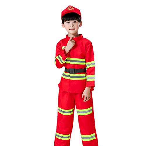 Proumhang Disfraz de Fuego para nios 4 Piezas de Juguete de Cosplay con Gorra de Fuego, Chaleco, pantaln, cinturn (para 110 cm-160 cm)-150cm