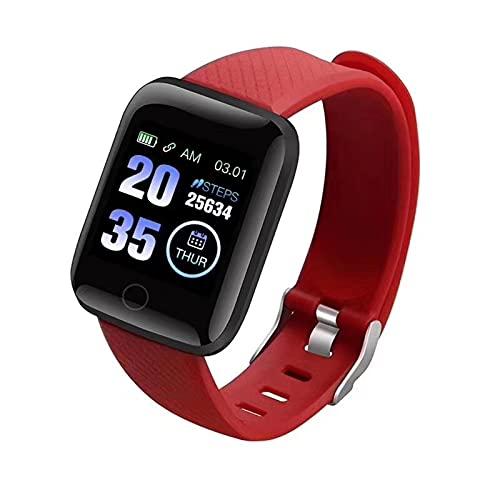 Smartwatch per Uomo Donna Impermeabile, Fitness Tracker Cardiofrequenzimetro Orologio Digitale Sportivo, Smartwatch per Telefoni Android e Telefoni iOS (Rosso)