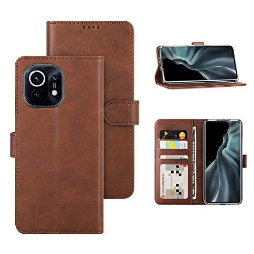 DDJ Schutzhülle für Xiaomi Mi 11 5G Wallet Handyhülle mit Kartensteckplätzen & Magnetverschluss Kratzfestes PU Leder Hülle Kompatibel mit Mi 11 5G (Braun)