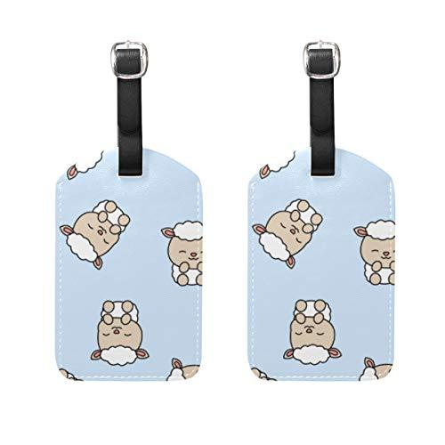 Confezione da 2 etichette per bagagli a forma di pecora, in pelle sintetica, con copertura posteriore per privacy, per borsa da viaggio e valigia