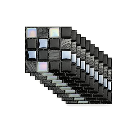 Hiser Rectángulo Adhesivos Decorativos Azulejos Pegatinas para Baldosas del Baño, Mármol 3D Mosaico Estilo Cocina Resistente al Agua Pegatina de Pared, 10x10cm (Mosaico de mármol,10Piezas)
