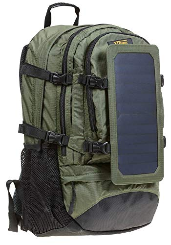 XTPower Hiking Solar Backpack with Removable 7 Wall Solar Panel for Smart Phones, Tablets, GPS, Bluetooth and GoPro devices in Navy Green