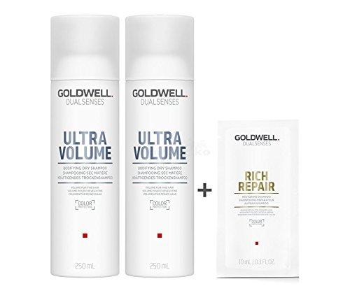 Goldwell Dualsenses Ultra Volume Kräftigendes Trockenshampoo 2x250ml = 500ml + Rich Repair Aufbau Shampoo Sachet 10ml