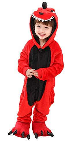 EOZY Pyjama Combinaison Enfant Bébé Ensemble de Pyjama Déguisement Bébé Animal Mignon Flanelle Hiver Chaud avec Chausson Fête Cosplay (Dinosaure Rouge, 100: Stature 90-105cm)