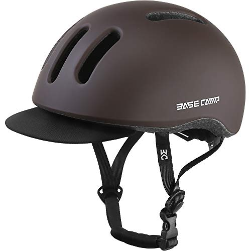BASE CAMP Adult Bike Helmet with Removable Visor for Urban Commuter Adjustable M Size (Retro Maroon)
