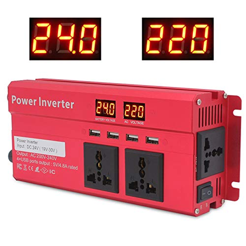 Inversor de alimentación Modificado 2000W 4USB Pantalla LCD LCD 12V / 24V a 230 V CONVERTADOR Puerto USB Dos Ventiladores de refrigeración-Peak Power para portátil P 1500W24V to 220V