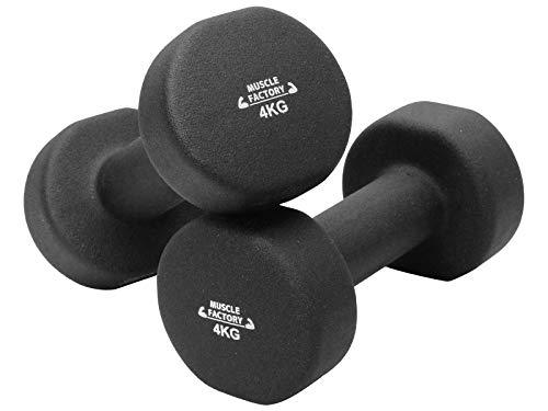 MUSCLE FACTORY ダンベル 4kg 2個セット カラーダンベル エクササイズ 鉄アレイ おしゃれ ブラック