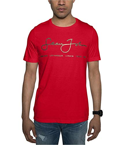 NR Sean John Mens Signature Scrip Graphic T-Shirt, Red, Small