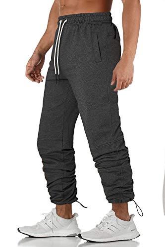AIDEAONE Trainingshose Elasticated Cuff Jogginghose Herren Classic-fit Sporthose mit Tunnelzug Stil Grau