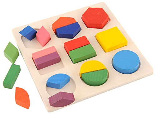 phalatina パズル 型はめ 認知 知性、想像 創造力 積み木 形合わせ 木のおもちゃ 色彩感覚 幼児 知育 玩具 正方形、長方形、ひし形 (パズルC)