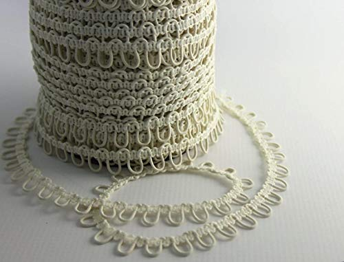 72' Ivory/White/Black Elastic Button Loops - Adjacent - for Bridal Gowns, Trails (Ivory)