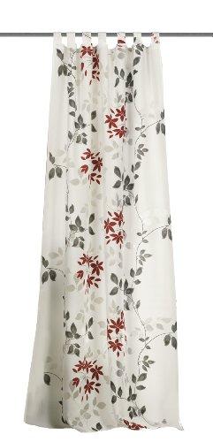 Home Fashion 48263-807 Schlaufenschal Blätterranke, Deko-Ausbrenner Bedruckt, 245 x 140 cm, rot