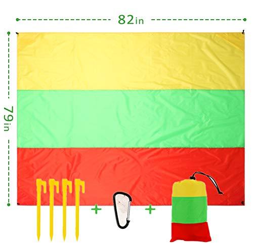 Scotamalone Stranddecke, Picknickdecke für 3–7 Erwachsene, übergroße Strandmatte für Reisen, Camping, Wandern, Training, Yoga Rot, Grün, Gelb