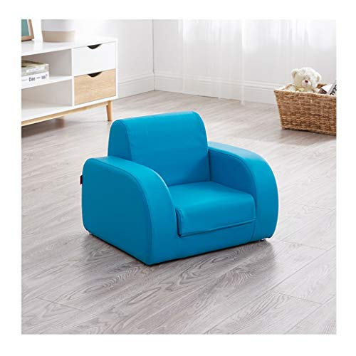 SHINY X-LOVE Kinderschlafsofa Lounger Kinder Flip Out 2 In 1 Gepolsterter Sitz PVC Leder-Sessel Rückenlehne Stuhl for Junge Mädchen Spielzimmer Schlafzimmermöbel (Color : Blue)