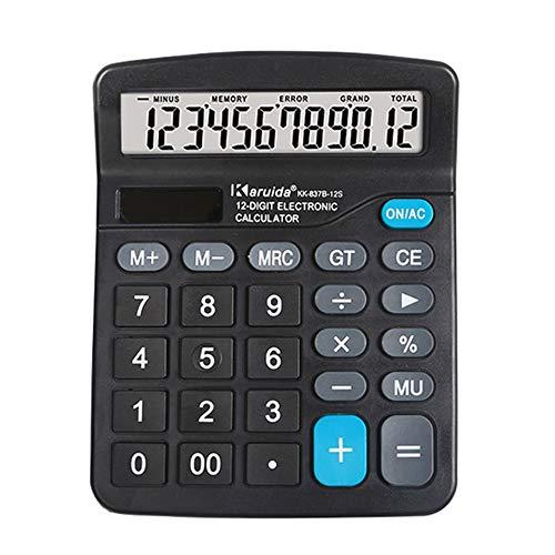 Aibecy Calculadora electrónica de escritorio 837B Función estándar Contador básico con pantalla LCD grande de 12 dígitos Botones grandes Energía dual Batería solar