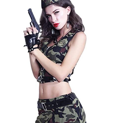 Nuevas mujeres ejrcito traje uniforme soldado Cosplay sexy juego de rol militar Topsand falda camuflaje mascarada trajes de lujo