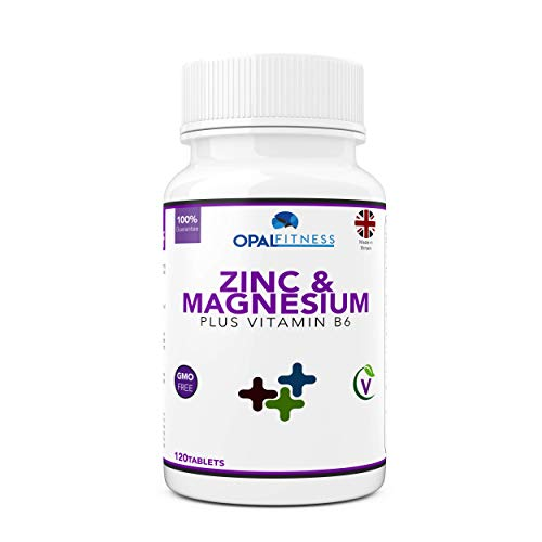 Zinc and Magnesium Tablets Supplement with Added Vitamin B6 by Opal Fitness - Sports Performance and Recovery Formula - GMO Free - Vegetarian & Vegan Friendly - 120 Tablets