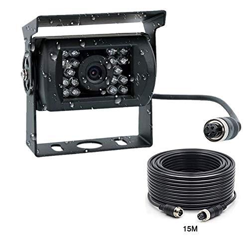 Podofo Caméra de Recul, Étanche IP68 HD IR Vision Nocturne Camera Arrière et 120 Degrés Grand Angle Antichoc avec 15M 4 Broches Câble Kit d'aide au stationnement pour Voiture Camion Bus