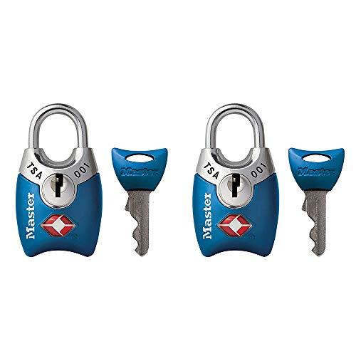 Master Lock Padlock, Keyed TSA-Accepted Luggage Lock, 1 in. Wide, Blue, 4689TBLU (Pack of 2)
