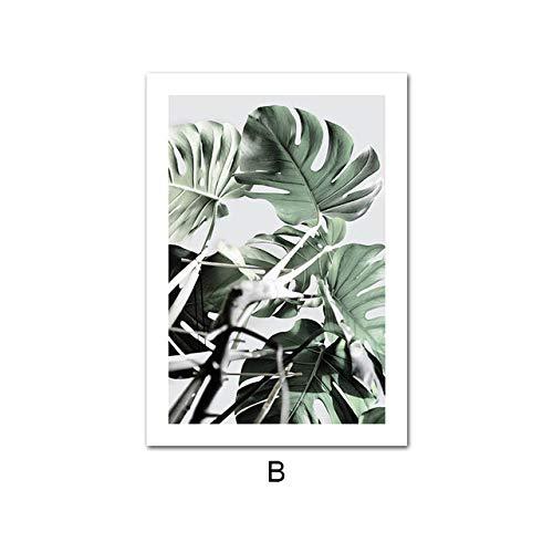 LiMengQi2 Póster de planta Verde de hoja de plátano Monstera, arte de pared de Estilo nórdico, lienzo Estampado botánico, cuadro decorativo moderno para EL hogar (No Frame)