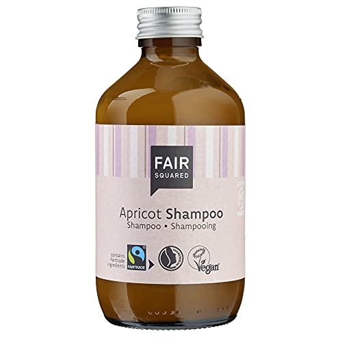 FAIR SQUARED 240ml Shampoo ohne Silikon Sulfate und Parabene – Apricot Mildes Shampoo Vegan Naturkosmetik – Fairtrade Shampoo ohne Plastikverpackung in Braunglas