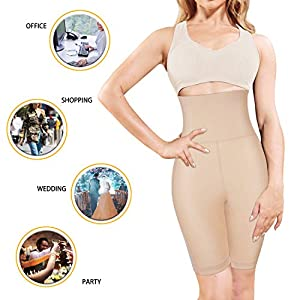 Nebility Women Waist Trainer Shapewear High Waist Tummy Control Butt Lifter Panty Thigh Slimmer (XL(waistline 31.1-34.2 inch), Beige)