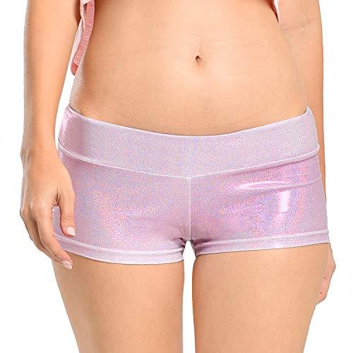 Women's Shiny Laser Booty Yoga Hot Metallic Shorts for Dancing, Raves, Halloween