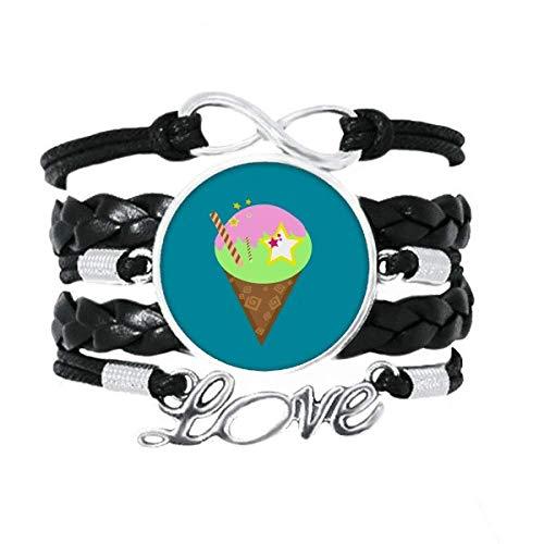 OFFbb-USA Ice Cream Cono Gelato Cono Delineado Pulseira Amor Acessório de Couro Trançado Corda Pulseira Presente