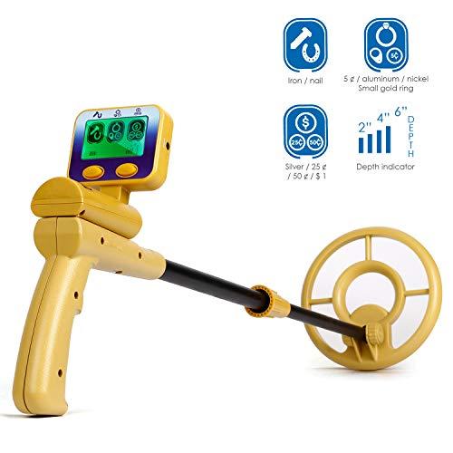 INTEY Kinder Metalldetektor - LCD-Display, Symbol und Tiefe des Zielmetalls, wasserdichte Suchspule (76~103 cm) zum Erkennen von Gold, N?geln und anderen Metallen
