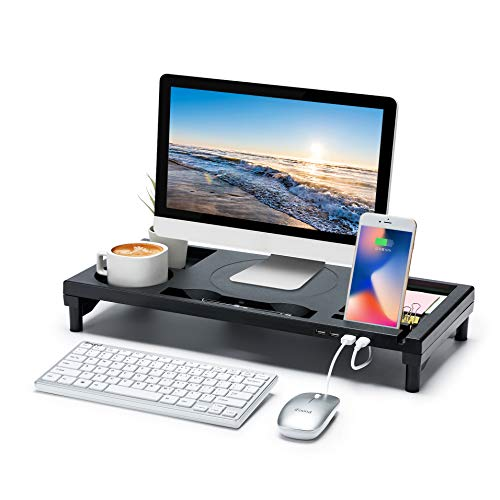 "Monitor Stand with USB Expansion,Monitor Riser with Holding Slots,Drawer Keyboard and Phone Stand Holder,Laptop Stand,Computer Stand with Cable Management for Computer,Desktop(21"" x 9"" x 3"")"