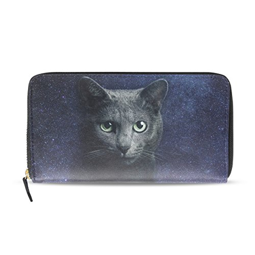 Vipsk Sky Nyan Cat Women Lady Wallet Purse Credit Card Clutch Holder Case PU leather outside appearance Polyester black lining