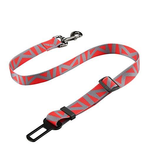 GBY veiligheidsgordel voor honden, autogordel voor huisdieren, hondenriem voor autogordel, verstelbare telescopische autogordel voor huisdieren van nylon, autotrekkoord, geschikt voor grote, middelgrote en kleine, size, rood